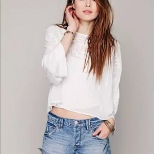 Free People NWT $98 embroidered blouse boho top S